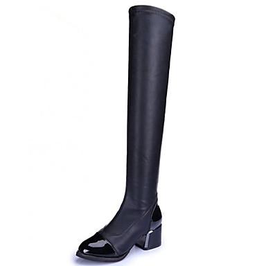 Støvler-KunstlæderDame-Sort-Udendørs Formelt-Tyk hæl