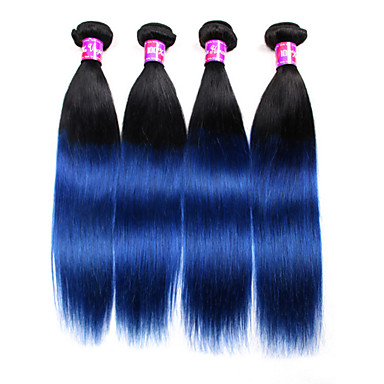 4 bundles 1b blue ombre straight virgin hair extensions 2016 ombre hair weaves 4 bundles 1b blue pmusecretfo Choice Image