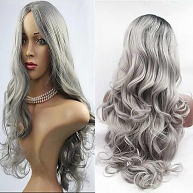 Syntetiske parykker Krop Bølge Massefylde Dame Grå Carnival Paryk Halloween Paryk uden dæksel Parykker Lang Syntetisk hår