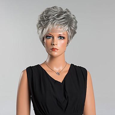 人間の毛のキャップレスウィッグ 人毛 カール ピクシーカット バング付き サイドパート ショート かつら 女性用