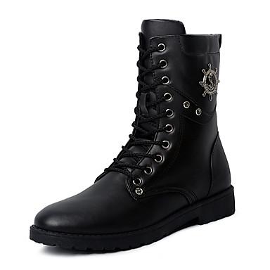 Bootsit-Tasapohja-Miehet-Fleece PU-Musta-Ulkoilu Rento