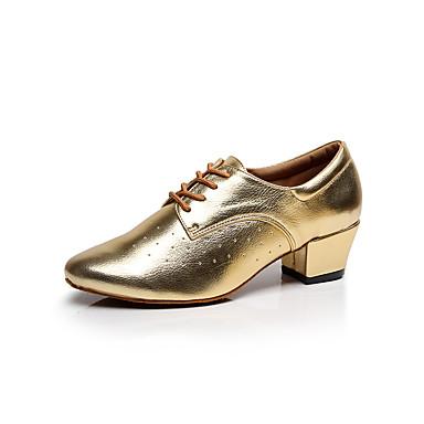 Dames Latin Danssneaker Salsa Swingschoenen Leer Sneaker Beginner Professioneel Optreden Oefenen Blokhak Zwart Zilver Grijs Gouden 4cm