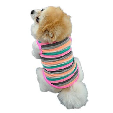 Gato Cachorro Camiseta Colete Roupas para Cães Riscas Arco-Íris Algodão Ocasiões Especiais Para animais de estimação Homens Mulheres Fofo