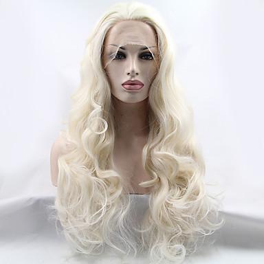 Syntetisk blonder foran parykker Bølget Blond Syntetisk hår Naturlig hårlinje / Midtskill Blond Parykk Dame Lang Blonde Forside Bleik Blond