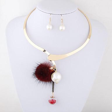 Mujer Collar / pendientes Personalizado Fiesta Trabajo Europeo Perla Forma de Círculo Pendientes Collares Para Boda Fiesta Regalos de boda