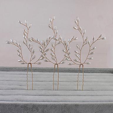 Imitação de Pérola Decoração de Cabelo Pino de cabelo with Floral 1pç Casamento Ocasião Especial Casual Capacete