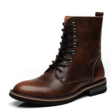Heren Laarzen Lente Zomer Herfst Winter Comfortabel Paardrijlaarzen Modieuze laarzen Leer Buiten Casual Platte hak VetersBruin Grijs