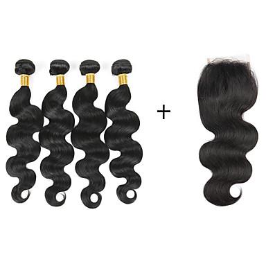 baratos Extensões de Cabelo Natural-4 pacotes Cabelo Brasileiro Ondulado 8A Cabelo Humano Cabelo Humano Ondulado Tramas de cabelo humano Extensões de cabelo humano