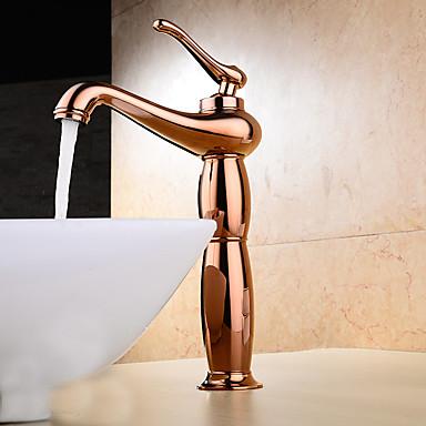 Nykyaikainen Moderni Integroitu Laajallle ulottuva Keraaminen venttiili Yksi kahva yksi reikä Ruusukulta, Kylpyhuone Sink hana