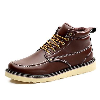 Masculino sapatos Courino Primavera Verão Outono Inverno Conforto Botas da Moda Botas Cadarço Para Casual Preto Marron Vermelho