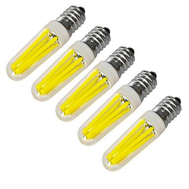 JIAWEN 5pcs 360lm E14 LED-kynttilälamput 4 LED-helmet COB Koristeltu Lämmin valkoinen Kylmä valkoinen 220V 220-240V