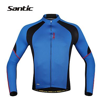 SANTIC Herrn Langarm Fahrradtrikot - Blau Fahhrad Trikot / Radtrikot / Jacke, Rasche Trocknung, UV-resistant, Atmungsaktiv Polyester,