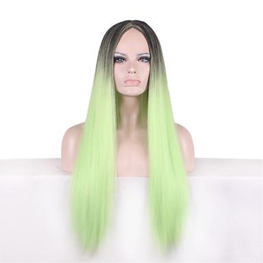 Mulher Perucas sintéticas Liso Verde Cabelo Ombre Peruca Natural Peruca de Halloween Peruca de carnaval Perucas para Fantasia