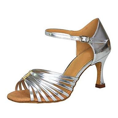 Damen Schuhe für den lateinamerikanischen Tanz / Salsa Tanzschuhe Kunstleder Sandalen / Absätze Schnalle / Rüschen Maßgefertigter Absatz