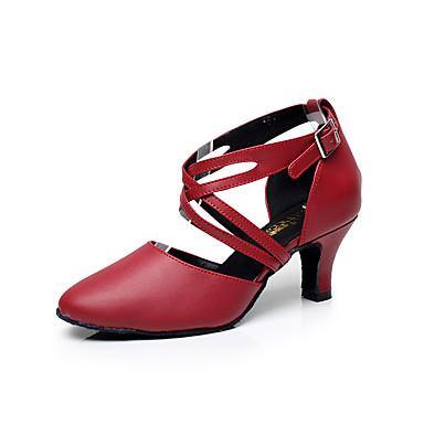 baratos Shall We® Sapatos de Dança-Mulheres Sapatos de Dança Couro Sapatos de Dança Latina Presilha Sandália Salto Baixo Personalizável Preto / Vermelho / Interior / Espetáculo / Ensaio / Prática / Profissional / EU41