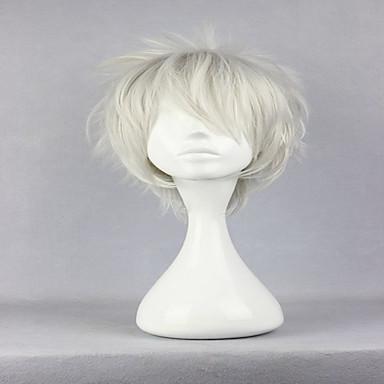 Cabelo Sintético perucas Encaracolado Peruca para Cosplay Prateado