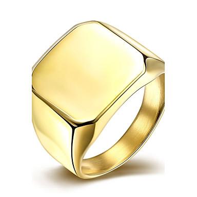 男性用 指輪 ファッション 欧風 ステンレス鋼 銀メッキ ゴールドメッキ 方形 幾何学形 ジュエリー 結婚式 パーティー 日常 カジュアル
