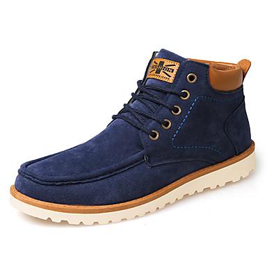 Heren Schoenen Kunstleer Lente Herfst Winter Modieuze laarzen Comfortabel Laarzen Veters Voor Causaal Zwart Bruin Blauw