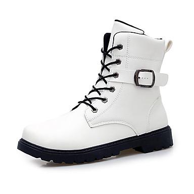 Bootsit-Tasapohja-Miesten-Mikrokuitu-Musta Valkoinen-Rento-Comfort
