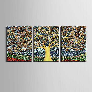 Abstracto Floral/Botánico Estilo europeo, Tres Paneles Lona Vertical Estampado Decoración de pared Decoración hogareña