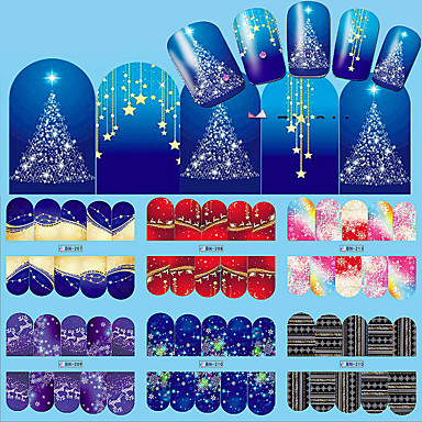 12 pcs Adesivo de transferência de água arte de unha Manicure e pedicure Fashion Diário