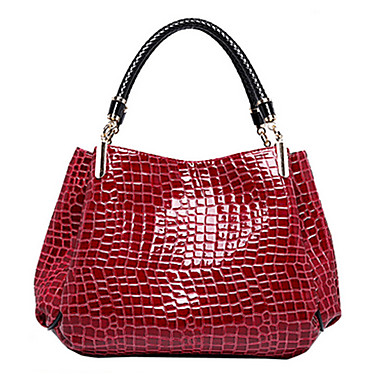 Women s Bags Patent Leather Tote Crocodile Black   Dark Blue   Dark Red 67b4c52662e59