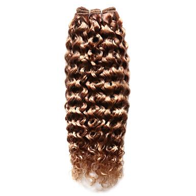 billige Fargede hairextensions-Indisk hår Krøllet 8A uthevet hår Hårvever med menneskehår Hairextensions med menneskehår