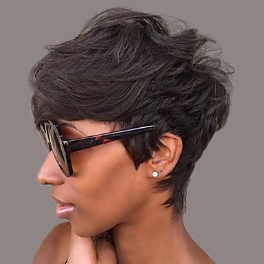 Human Hair Capless Wigs Human Hair Natural Wave Pixie Cut / With Bangs Short Machine Made Wig Women's