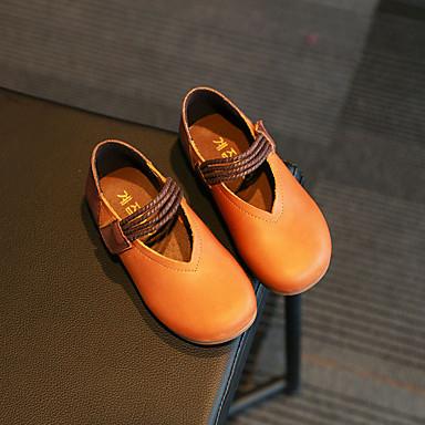 女の子-カジュアル-レザー靴を点灯-フラット-ブラック ライトブラウン