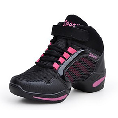 Damen Schuhe Stoff Frühling Herbst Komfort Sneakers Flacher Absatz Runde Zehe Schnürsenkel für Normal Schwarz Rot Golden