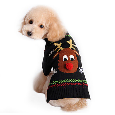 Γάτα Σκύλος Πουλόβερ Ρούχα για σκύλους Τάρανδος Μαύρο Βαμβάκι Στολές Για κατοικίδια Ανδρικά Γυναικεία Χαριτωμένο Γιορτή Χριστούγεννα
