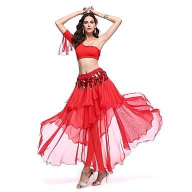 Göbek Dansı Kıyafetler Kadın's Performans Polyester / Splandeks Fırfırlı Top / Etek / Bel Kemeri
