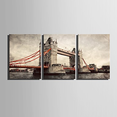 E-HOME® Stretched Canvas Art European Bridge Decorative Painting Set of 3