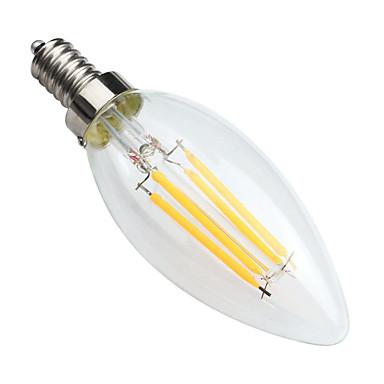 KWB 1個 400lm E14 フィラメントタイプLED電球 C35 4 LEDビーズ COB 調光可能 装飾用 温白色 220-240V