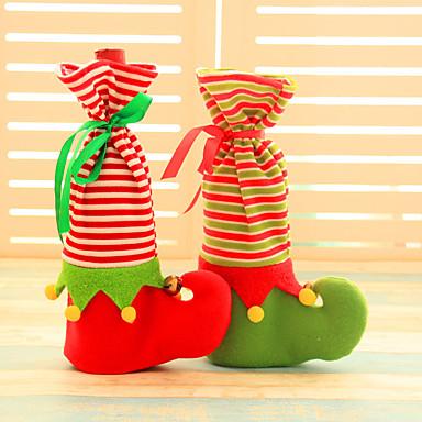 2ST Weinflasche umfaßt Sätze Weihnachtsparty Weihnachtsmann-Mütze Kleidung für Flasche Weihnachtsgeschenk neue Jahr rote Hauptdekoration