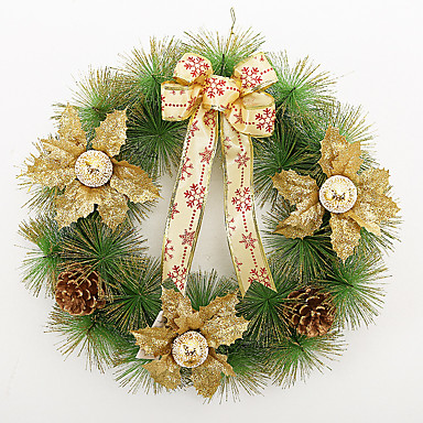 ホームパーティーの直径40センチメートルのためのクリスマスの花輪3色の松葉クリスマスの装飾、新しい年の供給をナビダド