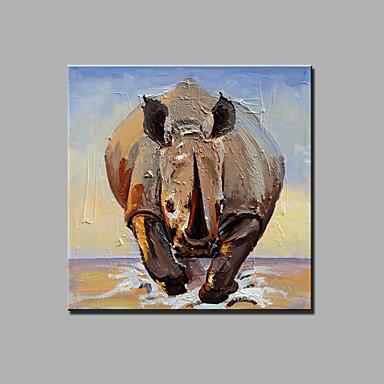 手描きの 抽象画 動物 四角形,Modern 1枚 キャンバス ハング塗装油絵 For ホームデコレーション