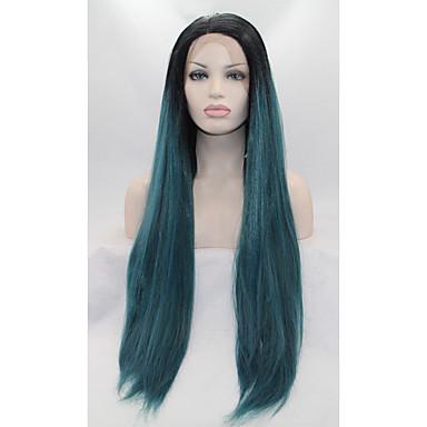 Peluca Lace Front Sintéticas Recto Pelo sintético Verde Peluca Mujer Encaje Frontal Verde