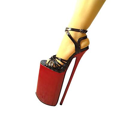 女性用 靴 PUレザー 夏 秋 ヒール スティレットヒール プラットフォーム ラウンドトウ ベックル のために パーティー ブラック ゴールデン