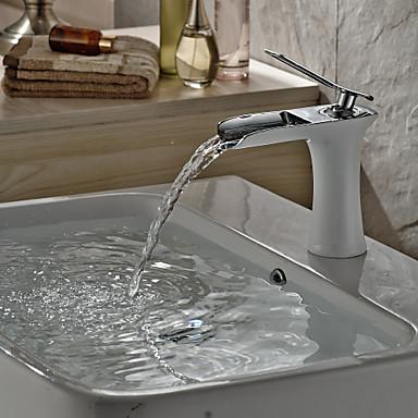 Moderna Conjunto Central Cascata Válvula Cerâmica Uma Abertura Monocomando e Uma Abertura Cromado , Torneira pia do banheiro