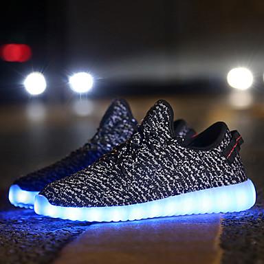 Unisex-Tacón Bajo-Light Up Zapatos Confort-Zapatillas de deporte-Exterior Informal Deporte-Tul-Negro Rojo Gris
