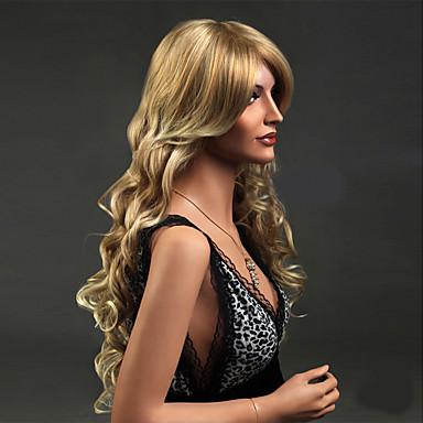 Synteettiset peruukit Laineita Tyyli Suojuksettomat Peruukki Vaaleahiuksisuus Vaaleahiuksisuus Synteettiset hiukset Naisten Vaaleahiuksisuus Peruukki Pitkä Luonnollinen peruukki