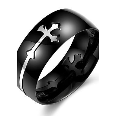 男性用 指輪 ブラック ステンレス鋼 十字架 その他 ユニーク ファッション 日常 カジュアル スポーツ コスチュームジュエリー