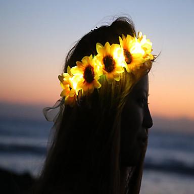 auringonkukka led syttyy kukka crownfloral headbandlight ylös kukka crownheadband Coachella halloween