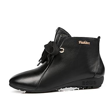 Feminino Sapatos Couro Outono Inverno Curta/Ankle Botas Anabela Fru-Fru Cadarço Para Casual Preto Bege Rosa claro