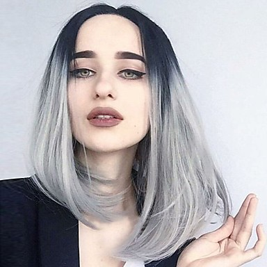Mulher Perucas sintéticas Curto Médio Ondulado Preto/Branco Repartido ao Meio Corte Bob Peruca Natural Perucas para Fantasia