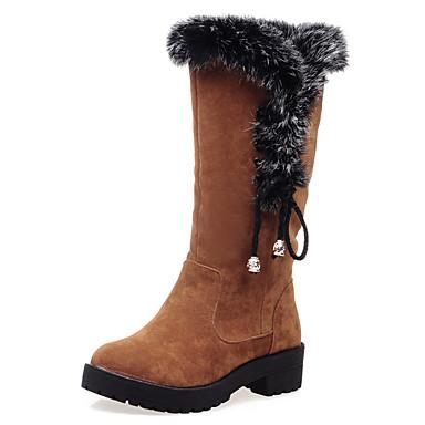 Naiset Kengät Turkis Fleece Syksy Talvi Talvisaappaat Muotisaappaat Bootsit Platform Pyöreä kärkinen Ruseteilla Käyttötarkoitus