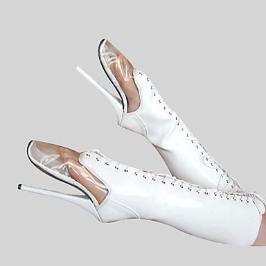 Mujer Zapatos PU Invierno Botas de Moda Botas Tacón Stiletto Dedo redondo Cremallera / Con Cordón Blanco / Fiesta y Noche