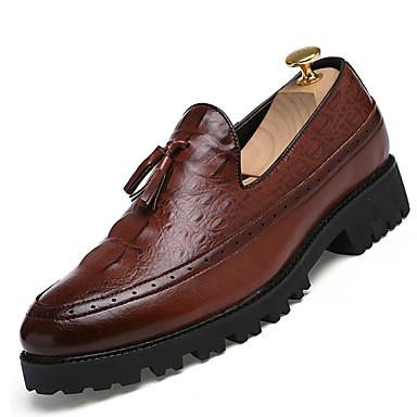 Miehet kengät Tekonahka Talvi Kevät Kesä Syksy Comfort Muotisaappaat Mokkasiinit Solmittavat varten Kausaliteetti Musta Tumman ruskea