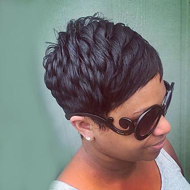 スタイリッシュなレイヤードカットショートストレートキャップレスは、人間の毛髪のかつら